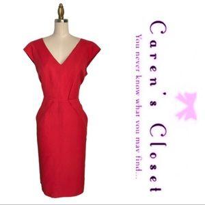 Calvin Klein Burnt Orange V Neck Sheath  Dress